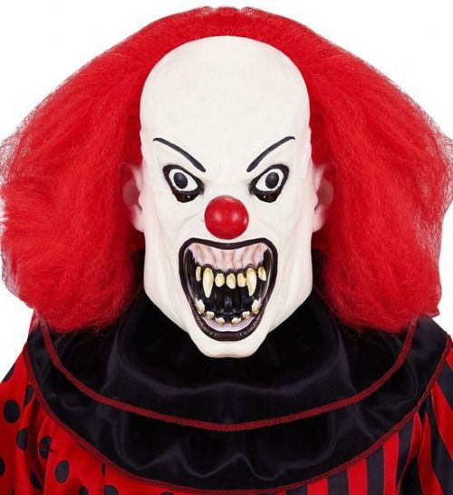 Killer Clown Mask with Wig Murderer Halloween Fancy Dress Cosplay
